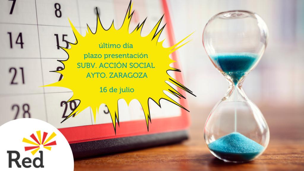Último día presentación subvención acción social Ayuntamiento Zaragoza